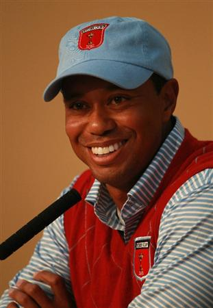 NEWPORT, WALES - SEPTEMBER 28:  Tiger Woods of the USA answers questions from the media at a press conference following a practice round prior to the 2010 Ryder Cup at the Celtic Manor Resort on September 28, 2010 in Newport, Wales.  (Photo by Richard Heathcote/Getty Images)