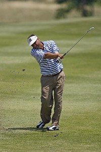 Brad Bryant hits an approach shot during the second round of the Greater Kansas City Golf Classic at the Nicklaus Golf Club at LionsGate in Overland Park, Kansas on July 1, 2006.Photo by G. Newman Lowrance/WireImage.com