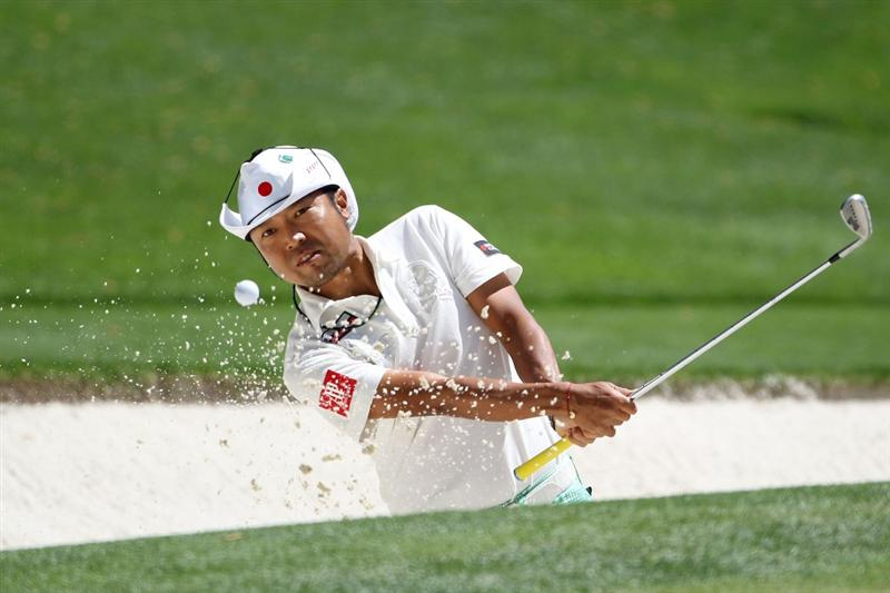 AUGUSTA, GA - APRIL 09:  Shingo Katayama of Japan plays a shot from a bunker on the 16th hole during the second round of the 2010 Masters Tournament at Augusta National Golf Club on April 9, 2010 in Augusta, Georgia.  (Photo by Jamie Squire/Getty Images)