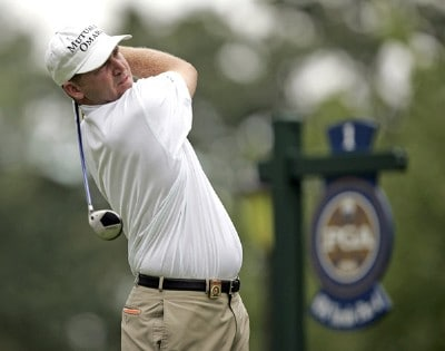 Jason Bohn on the first tee during practice for the PGA Championship held at Medinah Country Club in Medinah, Illinois, on August 14, 2006.Photo by Hunter Martin/WireImage.com