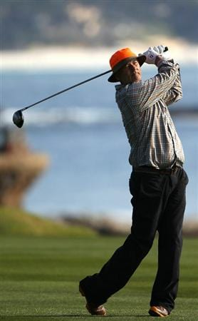 PEBBLE BEACH, CA - FEBRUARY 13:  Actor Bill Murray hits from the 18th green at the AT&T Pebble Beach National Pro-Am- Final Round at the Pebble Beach Golf Links on February 13, 2011 in Pebble Beach, California.  (Photo by Jed Jacobsohn/Getty Images)