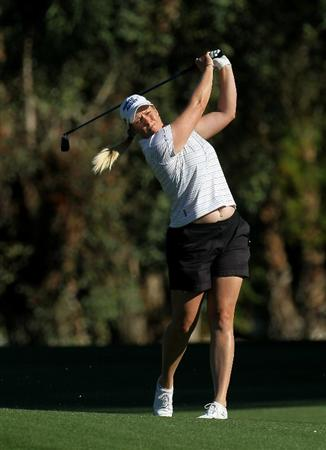 RANCHO MIRAGE, CA - APRIL 01:  Brittany Lincicome hits her second shot on the second hole during the second round of the Kraft Nabisco Championship at Mission Hills Country Club on April 1, 2011 in Rancho Mirage, California.  (Photo by Stephen Dunn/Getty Images)