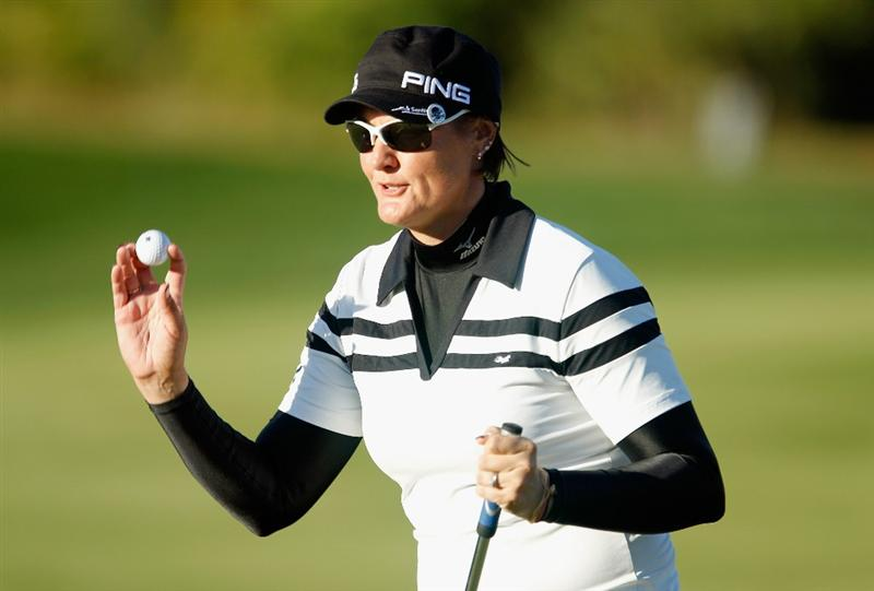 ORLANDO, FL - DECEMBER 04:  Maria Hjorth of Sweden waves to the gallery on the 13th green  during the third round of the LPGA Tour Championship at the Grand Cypress Resort on December 4, 2010 in Orlando, Florida.  (Photo by Scott Halleran/Getty Images)