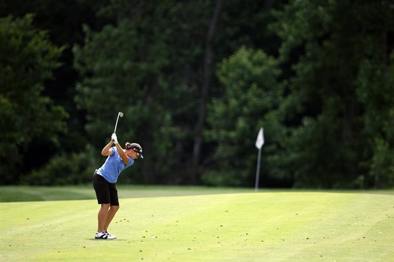 HAVRE DE GRACE, MD - JUNE 14:  Angela Stanford hits her second shot on the first hole during the final round of the McDonald's LPGA Championship at Bulle Rock Golf Course on June 14, 2009 in Havre de Grace, Maryland.  (Photo by Andy Lyons/Getty Images)