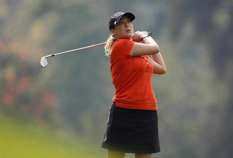 GUADALAJARA, MEXICO - NOVEMBER 12:  Cristie Kerr of the United States watches her shot during the second round of the Lorena Ochoa Invitational Presented by Banamex and Corona Light at Guadalajara Country Club on November 12, 2010 in Guadalajara, Mexico.  (Photo by Michael Cohen/Getty Images)