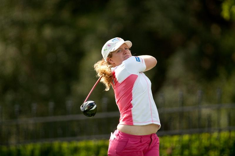DANVILLE, CA - OCTOBER 16: Mikaela Parmlid of Sweden follows through on a tee shot during the third round of the CVS/Pharmacy LPGA Challenge at Blackhawk Country Club on October 16, 2010 in Danville, California. (Photo by Darren Carroll/Getty Images)