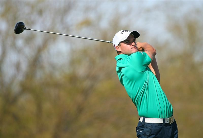 SCOTTSDALE, AZ - FEBRUARY 26: Sam Saunders hits his tee shot on the ninth hole during the second round of the Waste Management Phoenix Open at TPC Scottsdale on February 26, 2010 in Scottsdale, Arizona. (Photo by Hunter Martin/Getty Images)