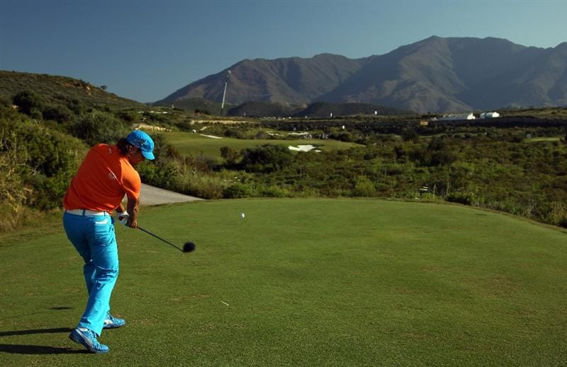 CASARES, SPAIN - MAY 21:  Johan Edfors of Sweden hits his tee-shot on the fifth hole during his last 16 match at the Volvo World Match Play Championship at Finca Cortesin on May 21, 2011 in Casares, Spain.  (Photo by Andrew Redington/Getty Images)
