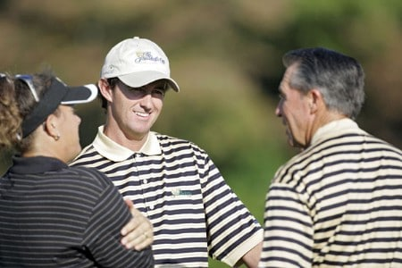 Mark Hensby and Gary Player, coach, of the International team during a practice round at The Presidents Cup at Robert Trent Jones Golf Club in Prince William County, Virginia on September 21, 2005.Photo by Sam Greenwood/WireImage.com