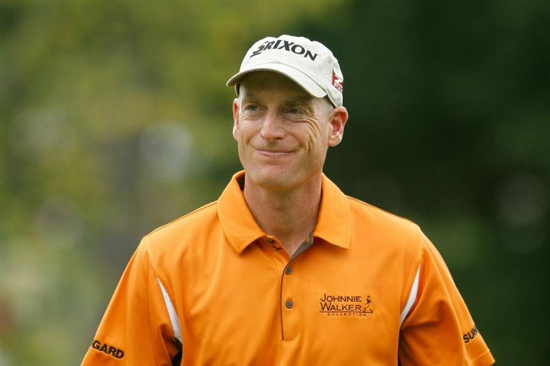 ATLANTA - SEPTEMBER 24:  Jim Furyk reacts to a missed birdie putt on the second hole during the second round of THE TOUR Championship presented by Coca-Cola at East Lake Golf Club on September 24, 2010 in Atlanta, Georgia.  (Photo by Scott Halleran/Getty Images)