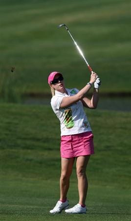 MORELIA, MEXICO- APRIL 24:  Morgan Pressel hits off the 5th fairway during the second round of the Corona Championship at the Tres Marias Residential Golf Club on April 24, 2009 in Morelia, Michoacan, Mexico. (Photo by Donald Miralle/Getty Images)