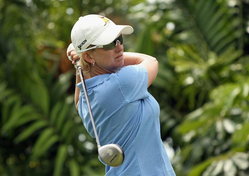 SINGAPORE - FEBRUARY 27:  Karrie Webb of Australia hits her tee shot on the seventh hole during the final round of the HSBC Women's Champions 2011 at the Tanah Merah Country Club on February 27, 2011 in Singapore, Singapore.  (Photo by Scott Halleran/Getty Images)