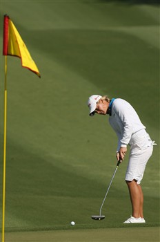 RANCHO MIRAGE, CA - APRIL 06:  Suzann Pettersen of Norway putts from off the second green during the final round of the Kraft Nabisco Championship at Mission Hills Country Club on April 6, 2008 in Rancho Mirage, California.  (Photo by Stephen Dunn/Getty Images)
