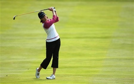 SUNNINGDALE, UNITED KINGDOM - AUGUST 01:  Stacy Prammanasudh of the USA plays her second shot into the sixth green during the second round of the 2008 Ricoh Women's British Open held on the Old Course at Sunningdale Golf Club on August 1, 2008 in Sunningdale, England.  (Photo by Warren Little/Getty Images)
