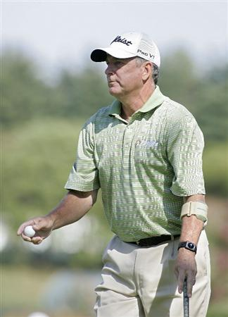 TIMONIUM, MD - OCTOBER 04:  Jay Haas holds his ball during the final round of the Constellation Energy Senior Players Championship at Baltimore Country Club/Five Farms (East Course) held on October 4, 2009 in Timonium, Maryland  (Photo by Michael Cohen/Getty Images)