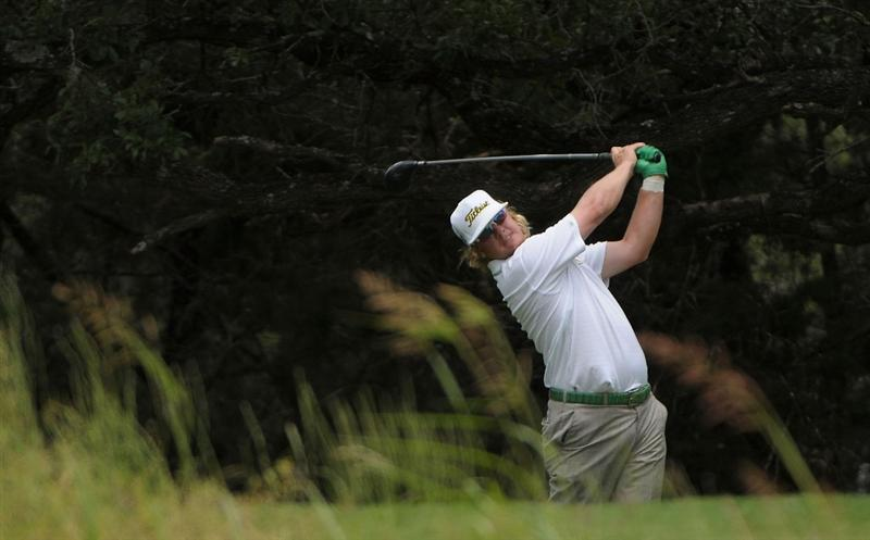 SAN ANTONIO, TX- MAY 13:  Charley Hoffman tees off the 4th hole during the first round of the Valero Texas Open at the TPC San Antonio on May 13, 2010 in San Antonio, Texas. (Photo by Marc Feldman/Getty Images)