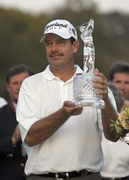 Bart Bryant holding his championship trophy after winning THE TOUR Championship at East Lake Golf Club in Atlanta, Georgia on November 6, 2005.Photo by Hunter Martin/WireImage.com