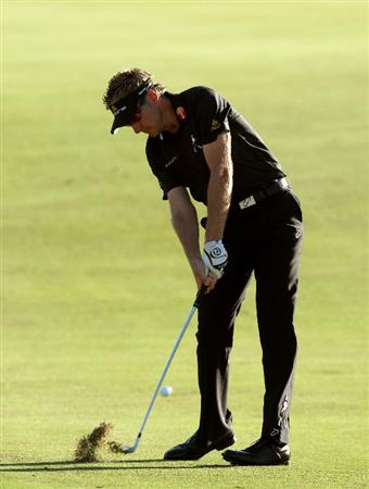 PERTH, AUSTRALIA - FEBRUARY 20:  Ian Poulter of England plays his second shot at the 11th hole during the second round of the 2009 Johnnie Walker Classic tournament at the Vines Resort and Country Club, on February 20, 2009, in Perth, Australia  (Photo by David Cannon/Getty Images)
