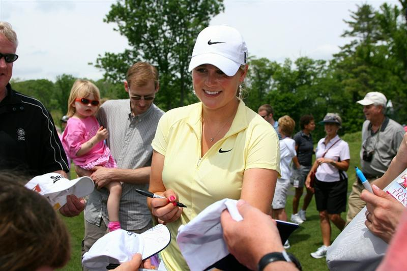 GLADSTONE, NJ - MAY 22: Amanda Blumenherst signs autographs  during the third round of the Sybase Match Play Championship at Hamilton Farm Golf Club on May 22, 2010 in Gladstone, New Jersey. (Photo by Hunter Martin/Getty Images)