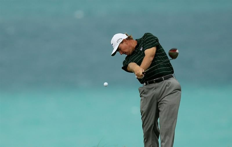 SOUTHAMPTON, BERMUDA - OCTOBER 20:  Ernie Els of South Africa during the final round of the 2010 PGA Grand Slam of Golf at The Port Royal Golf Course on October 20, 2010 in Southampton, Bermuda.  (Photo by Ross Kinnaird/Getty Images)