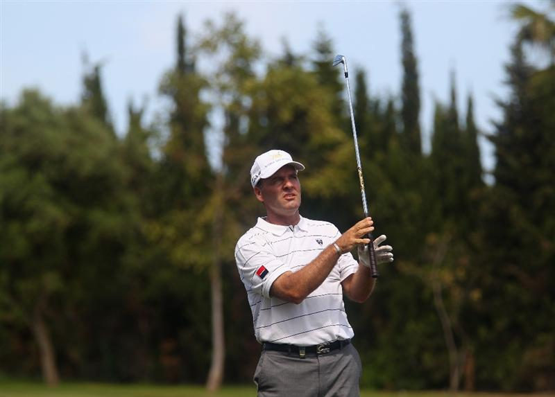 MALLORCA, SPAIN - MAY 14:  Thomas Levet of France plays a shot on the 14th hole during day three of the Iberdrola Open at Pula Golf Club on May 14, 2011 in Mallorca, Spain.  (Photo by Julian Finney/Getty Images)