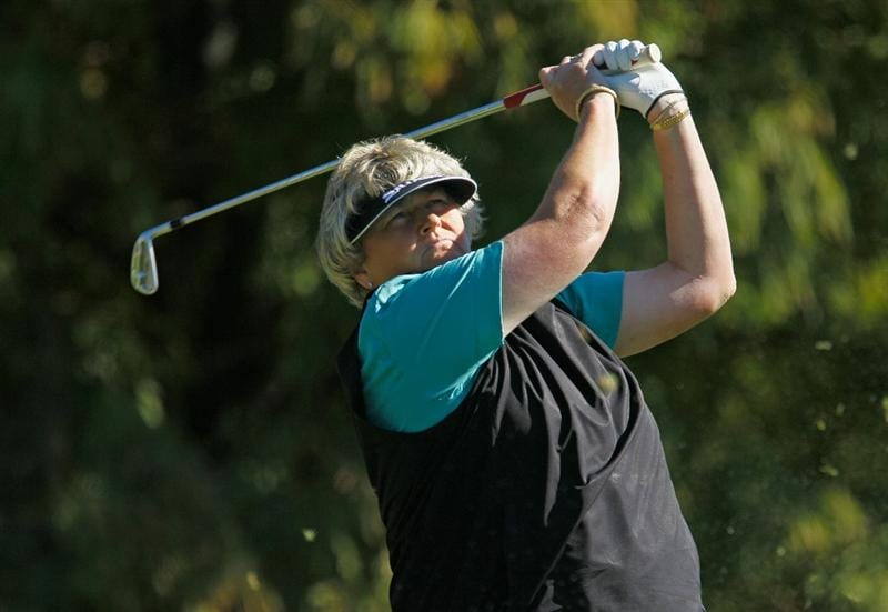 ORLANDO, FL - DECEMBER 02:  Laura Davies of England hits her tee shot on the fourth hole during the first round of the LPGA Tour Championship at the Grand Cypress Resort on December 2, 2010 in Orlando, Florida.  (Photo by Scott Halleran/Getty Images)
