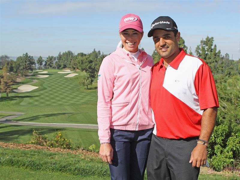 CITY OF INDUSTRY, CA - MARCH 23:  Paula Creamer poses on a tee box alongside NASCAR driver Juan Pablo Montoya during the pro-am prior to the start of the Kia Classic on March 23, 2011 at the Industry Hills Golf Club in the City of Industry, California.  (Photo by Scott Halleran/Getty Images)