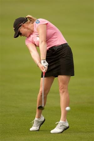 SPRINGFIELD, IL - JUNE 10: Morgan Pressel hits an approach shot during the first round of the LPGA State Farm Classic at Panther Creek Country Club on June 10, 2010 in Springfield, Illinois. (Photo by Darren Carroll/Getty Images)