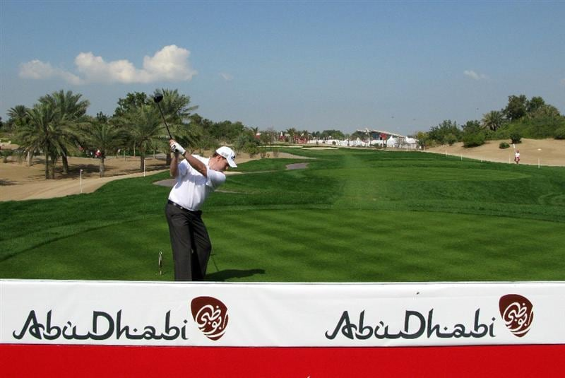 ABU DHABI, UNITED ARAB EMIRATES - JANUARY 17:  Stephen Gallacher of Scotland tees off on the eighth hole during the third round of The Abu Dhabi Golf Championship at Abu Dhabi Golf Club on January 17, 2009 in Abu Dhabi, United Arab Emirates.  (Photo by Andrew Redington/Getty Images)