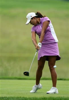 HAVRE DE GRACE, MD - JUNE 05:  Seon Hwa Lee of South Korea tees off at the par 4, 5th hole during the first round of the 2008 McDonald's LPGA Championship held at Bulle Rock Golf Course, on June 5, 2008 in Havre de Grace, Maryland.  (Photo by David Cannon/Getty Images)