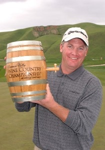 Tripp Isenhour holds the Wente Vineyards Winner's Trophy, a minature barrell of wine after his victory in the Nationwide TOUR 2006 Livermore Valley Wine Country Championship at The Course at Wente Vineyards in Livermore, California April 2, 2006.Photo by Steve Grayson/WireImage.com