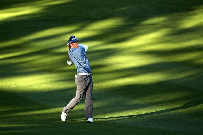 PEBBLE BEACH, CA - FEBRUARY 10:  Hunter Mahan hits his second shot on the 11th hole at the Spyglass Hill Golf Course during Round One of the AT&T Pebble Beach National Pro-Am on February 10, 2011 in Pebble Beach, California.  (Photo by Ezra Shaw/Getty Images)