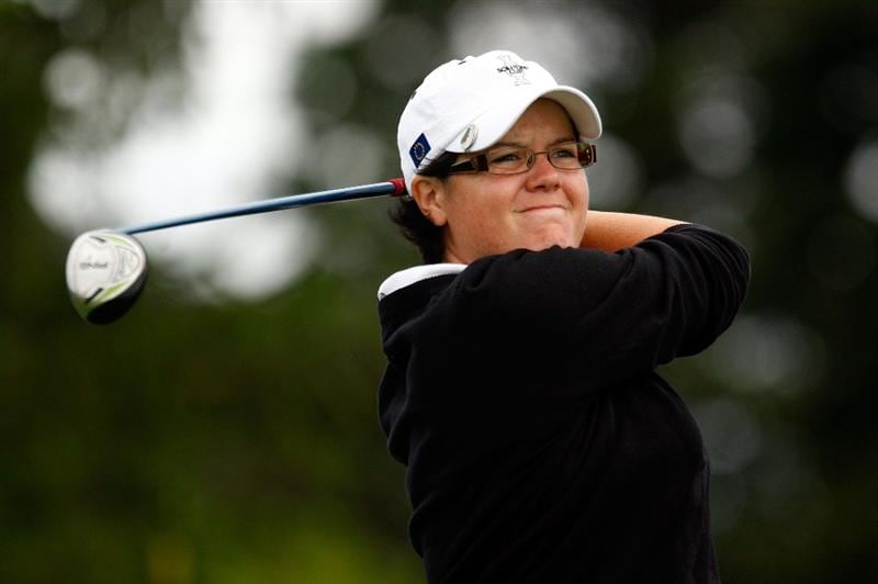 SUGAR GROVE, IL - AUGUST 21:  Becky Brewerton of the European Team watches her tee shot on the second hole during the friday morning fourball matches at the 2009 Solheim Cup at Rich Harvest Farms on August 21, 2009 in Sugar Grove, Illinois.  (Photo by Scott Halleran/Getty Images)