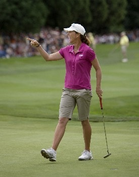 PORTLAND, OR - AUGUST 24: Helen Alfredsson of Sweden reacts after sinking a birdie putt at the par-4 18th hole to finish at 13 under par during the final round of the LPGA Safeway Classic at the Columbia Edgewater Country Club on August 24, 2008 in Portland, Oregon. (Photo by Steven Gibbons/Getty Images)