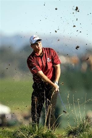 PEBBLE BEACH, CA - FEBRUARY 12:  D.A. Points hits out of the rough on the 18th hole during the third round of the AT&T Pebble Beach National Pro-Am at the Pebble Beach Golf Links on February 12, 2011 in Pebble Beach, California.  (Photo by Ezra Shaw/Getty Images)