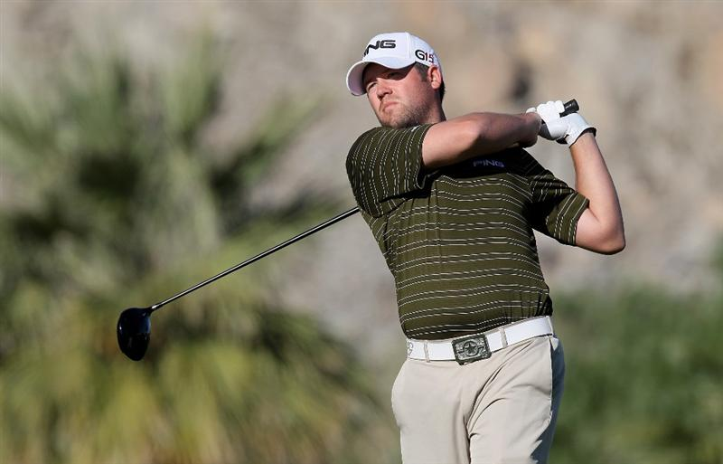LA QUINTA, CA - JANUARY 24:  Alex Prugh hits his tee shot on the 12th hole at SilverRock Resort during the fourth round of the Bob Hope Classic on January 24, 2010 in La Quinta, California.  (Photo by Stephen Dunn/Getty Images)