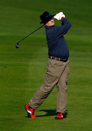 PEBBLE BEACH, CA - FEBRUARY 14: Bill Murray hits his second shot from the second fairway during the third round of the AT&T Pebble Beach National Pro-Am at the Pebble Beach Golf Links on February 14, 2009 in Pebble Beach, California. (Photo by Jeff Gross/Getty Images)