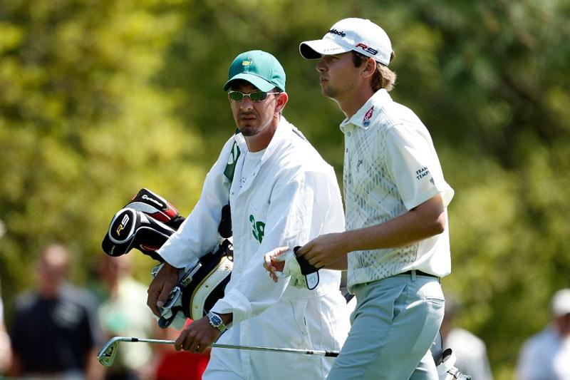 AUGUSTA, GA - APRIL 11:  Sean O'Hair walks with his caddie Paul Tesori up the first fairway during the third round of the 2009 Masters Tournament at Augusta National Golf Club on April 11, 2009 in Augusta, Georgia.  (Photo by Jamie Squire/Getty Images)