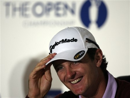 SOUTHPORT, UNITED KINGDOM - JULY 16:  Justin Rose of England listens to questions from the media at a press conference during the third practice round of the 137th Open Championship on July 16, 2008 at Royal Birkdale Golf Club, Southport, England.  (Photo by Andy Lyons/Getty Images)