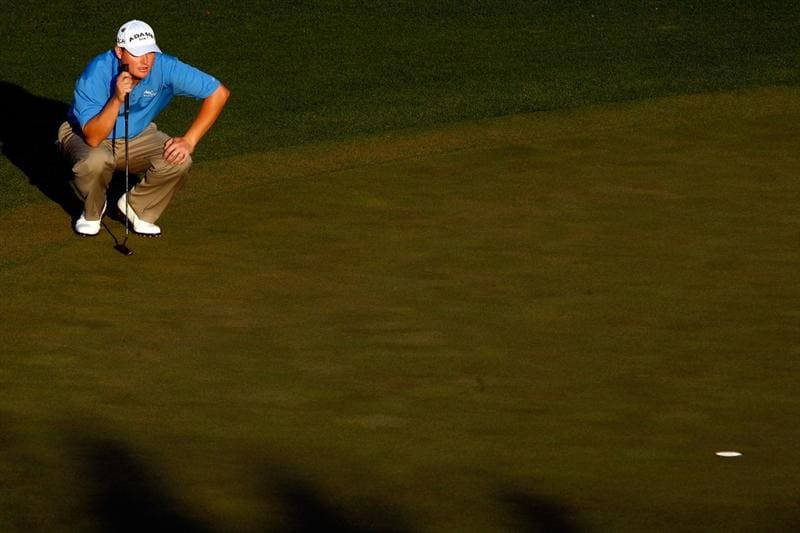 AUGUSTA, GA - APRIL 11:  Chad Campbell lines up a putt on the 18th hole during the third round of the 2009 Masters Tournament at Augusta National Golf Club on April 11, 2009 in Augusta, Georgia.  (Photo by Jamie Squire/Getty Images)
