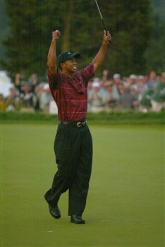 FARMINGDALE, NY - JUNE 16: Tiger Woods celebrates after winning the 102nd US Open on the Black Course at Bethpage State Park on June 16, 2002 in Farmingdale, New York. (Photo By Donald Miralle/Getty Images)