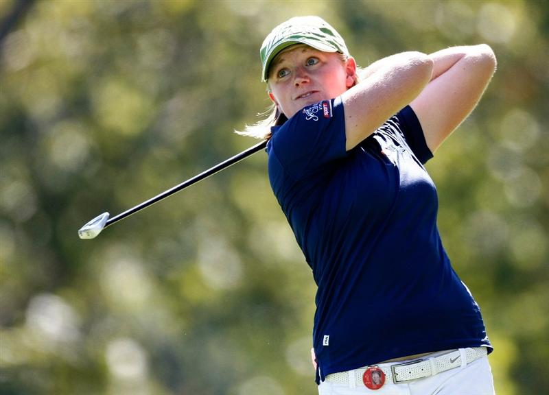 DANVILLE, CA - SEPTEMBER 25:  Stacy Lewis tees off on the 7th hole during the second round of the CVS/pharmacy LPGA Challenge at Blackhawk Country Club on September 25, 2009 in Danville, California.  (Photo by Jonathan Ferrey/Getty Images)
