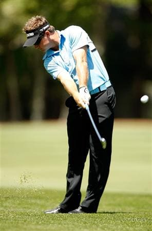 HILTON HEAD ISLAND, SC - APRIL 18:  Brian Gay hits a shot on the 2nd hole during the third round of the Verizon Heritage at Harbour Town Golf Links on April 18, 2009 in Hilton Head Island, South Carolina.  (Photo by Streeter Lecka/Getty Images)