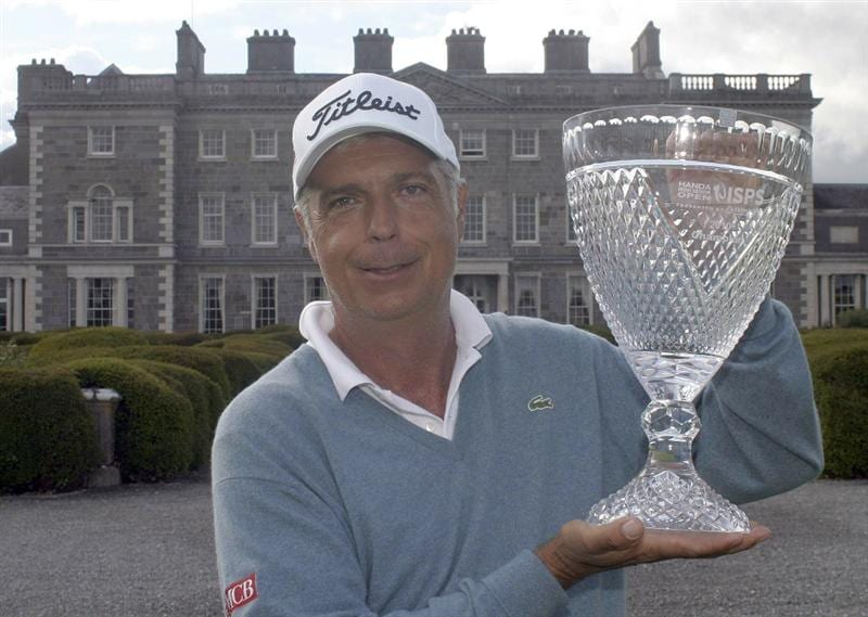 MAYNOOTH, IRELAND - JUNE 10:  Marc Farry of France poses with the trophy after the final round of the Handa Irish Senior Open presented by Failte Ireland played at the Montgomerie Course, Carton House GC on June 13, 2010 in Maynooth, Ireland.  (Photo by Phil Inglis/Getty Images)