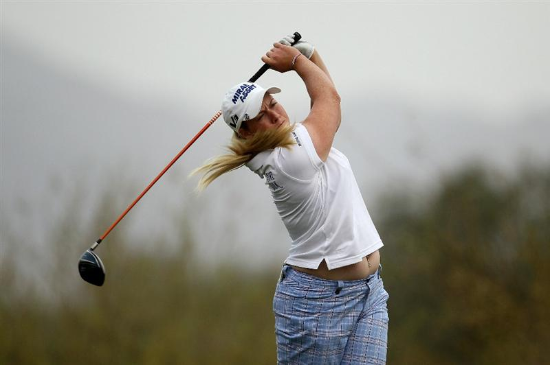 PHOENIX, AZ - MARCH 20:  Brittany Lincicome hits her tee shot on the 18th hole during the final round of the RR Donnelley LPGA Founders Cup at Wildfire Golf Club on March 20, 2011 in Phoenix, Arizona.  (Photo by Stephen Dunn/Getty Images)