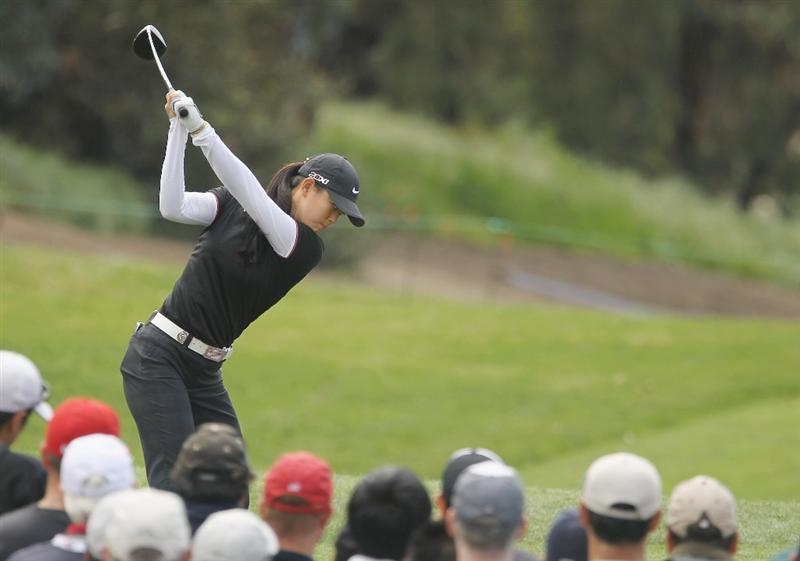 CITY OF INDUSTRY, CA - MARCH 25:  Michelle Wie hits her tee shot on the first hole during the second round of the Kia Classic on March 25, 2011 at the Industry Hills Golf Club in the City of Industry, California.  (Photo by Scott Halleran/Getty Images)