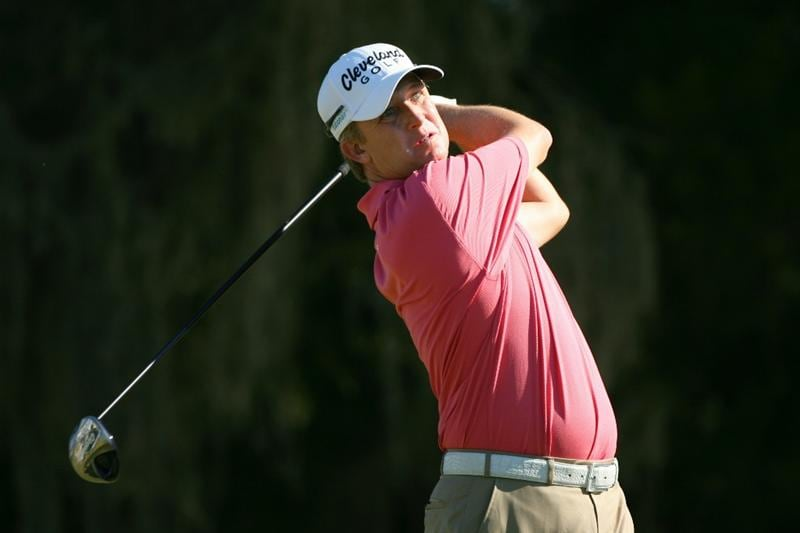 SEA ISLAND, GA - OCTOBER 8: David Toms hits his tee shot on the ninth hole during the second round of the McGladrey Classic at Sea Island Resort's Seaside Course on October 8, 2010 in Sea Island, Georgia. (Photo by Hunter Martin/Getty Images)
