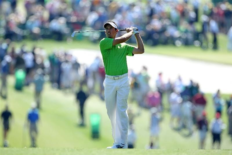 AUGUSTA, GA - APRIL 07:  Charl Schwartzel of of South Africa hits a shot on the first hole during the first round of the 2011 Masters Tournament at Augusta National Golf Club on April 7, 2011 in Augusta, Georgia.  (Photo by Andrew Redington/Getty Images)