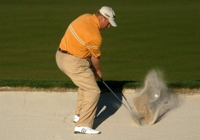 John Rollins hits from a greenside bunker in the final round of the 2007 Bob Hope Chrysler Classic at the Classic Club in Palm Desert PGA TOUR - 2007 Bob Hope Chrysler Classic - Final RoundPhoto by Steve Grayson/WireImage.com