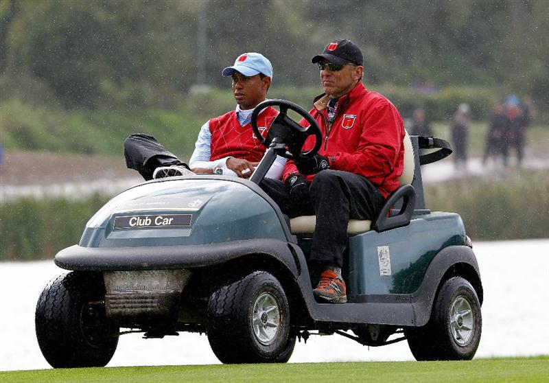 NEWPORT, WALES - OCTOBER 03:  Tiger Woods of the USA rides on a buggy during the Fourball & Foursome Matches during the 2010 Ryder Cup at the Celtic Manor Resort on October 3, 2010 in Newport, Wales.  (Photo by Sam Greenwood/Getty Images)